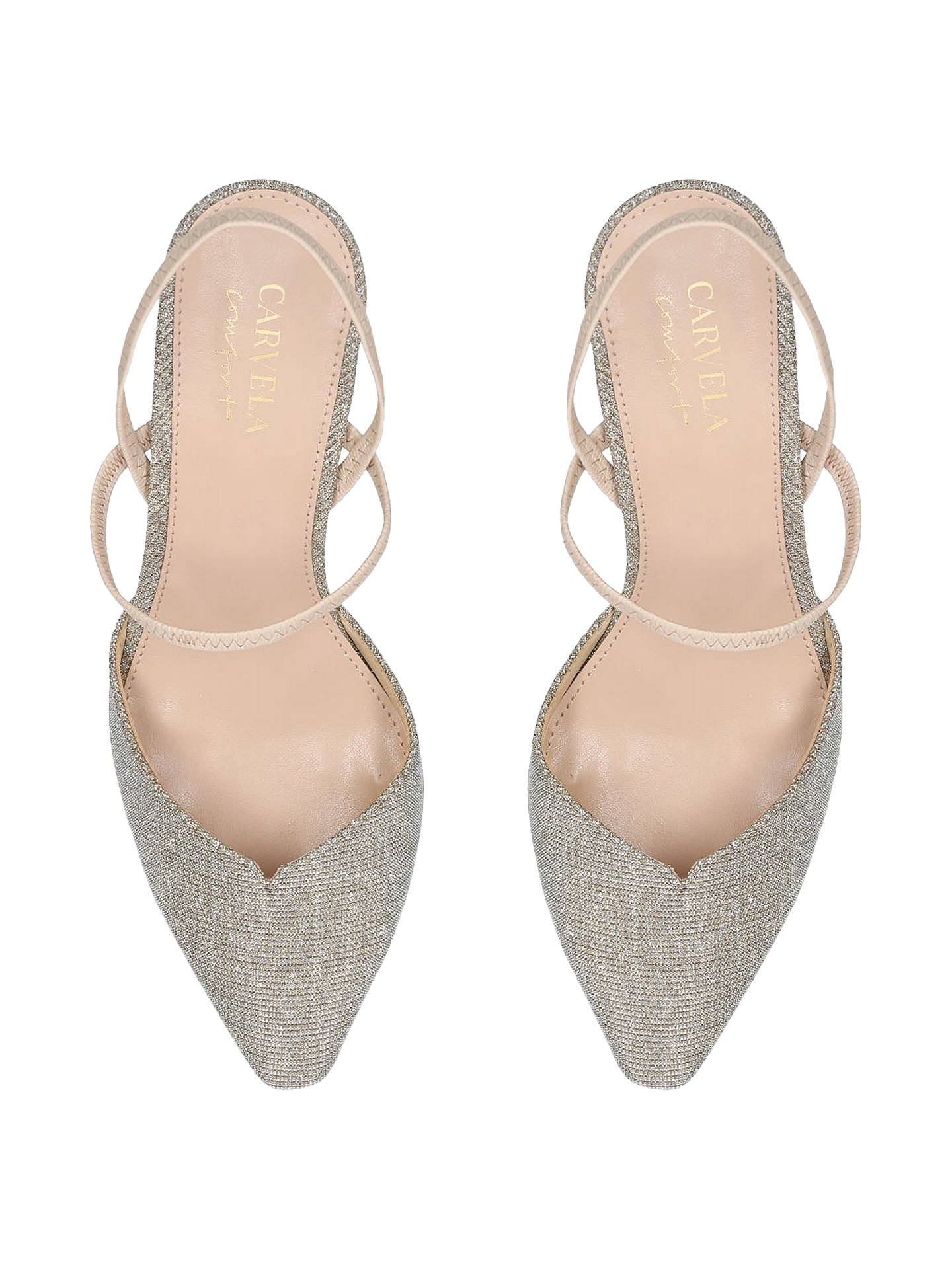 BuyCarvela Asya Kitten Heel Slingback Court Shoes, Gold, 3 Online at johnlewis.com
