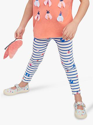Little Joule Girls' Glitter Bug Leggings, White/Blue