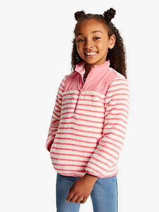 Little Joule Girls' Elena Half Zip Fleece, Cream/Pink