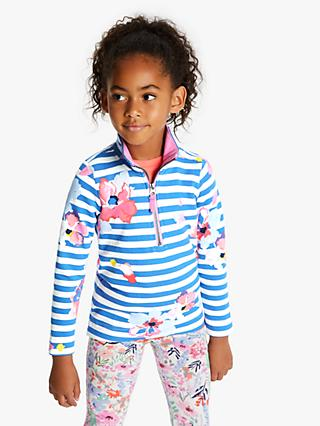 Little Joule Girls' Fairdale Floral Half Zip Sweatshirt, Blue