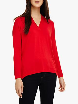 Phase Eight Verity V-Neck Top, Crimson