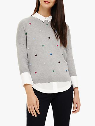 Phase Eight Finley Knit Jumper, Grey Marl