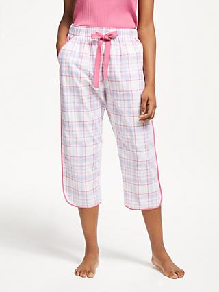John Lewis & Partners Serena Check Cotton Pyjama Bottoms, Pale Pink