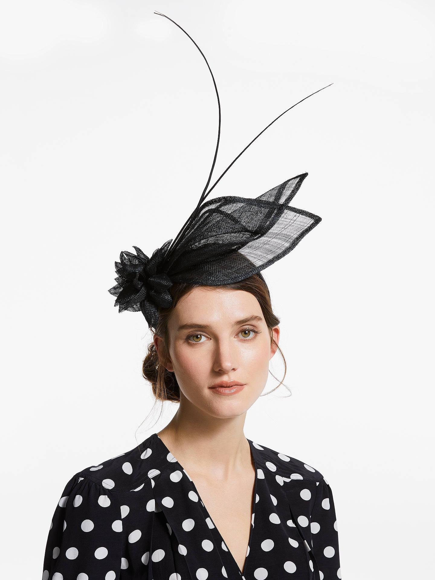 f7ab508831217 Buy John Lewis & Partners Natalie Flower Leaf Fascinator, Black, One Size  Online at ...