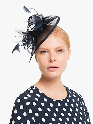 John Lewis & Partners Maya Feathers and Loops Teardrop Fascinator, Navy