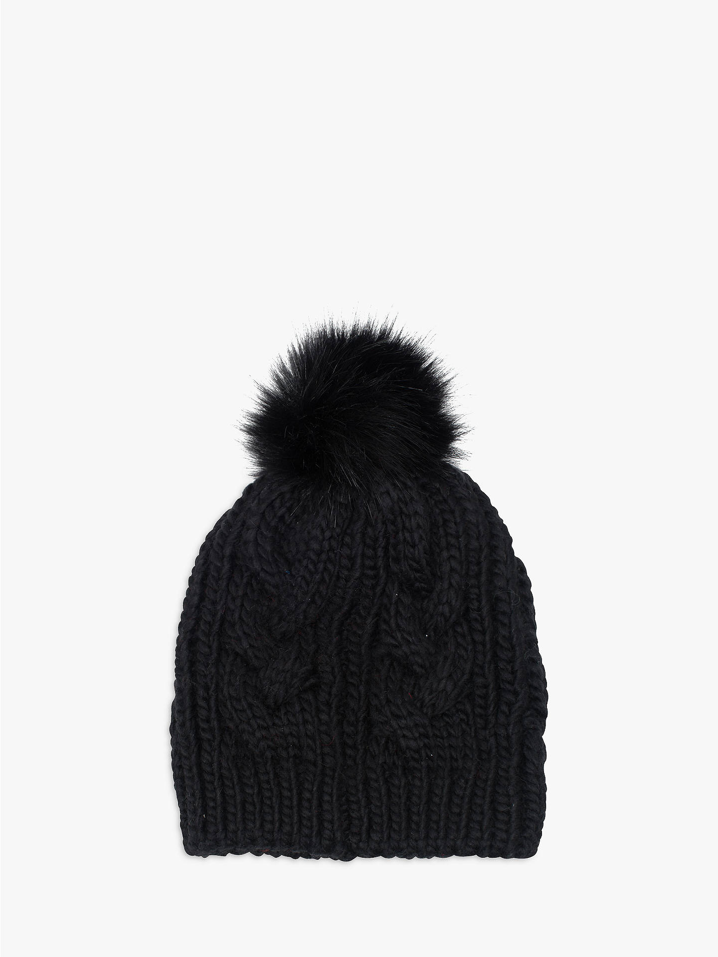 BuyFrench Connection Cable Knit Faux Fur Pom Pom Beanie Hat 4e5e6eb68da