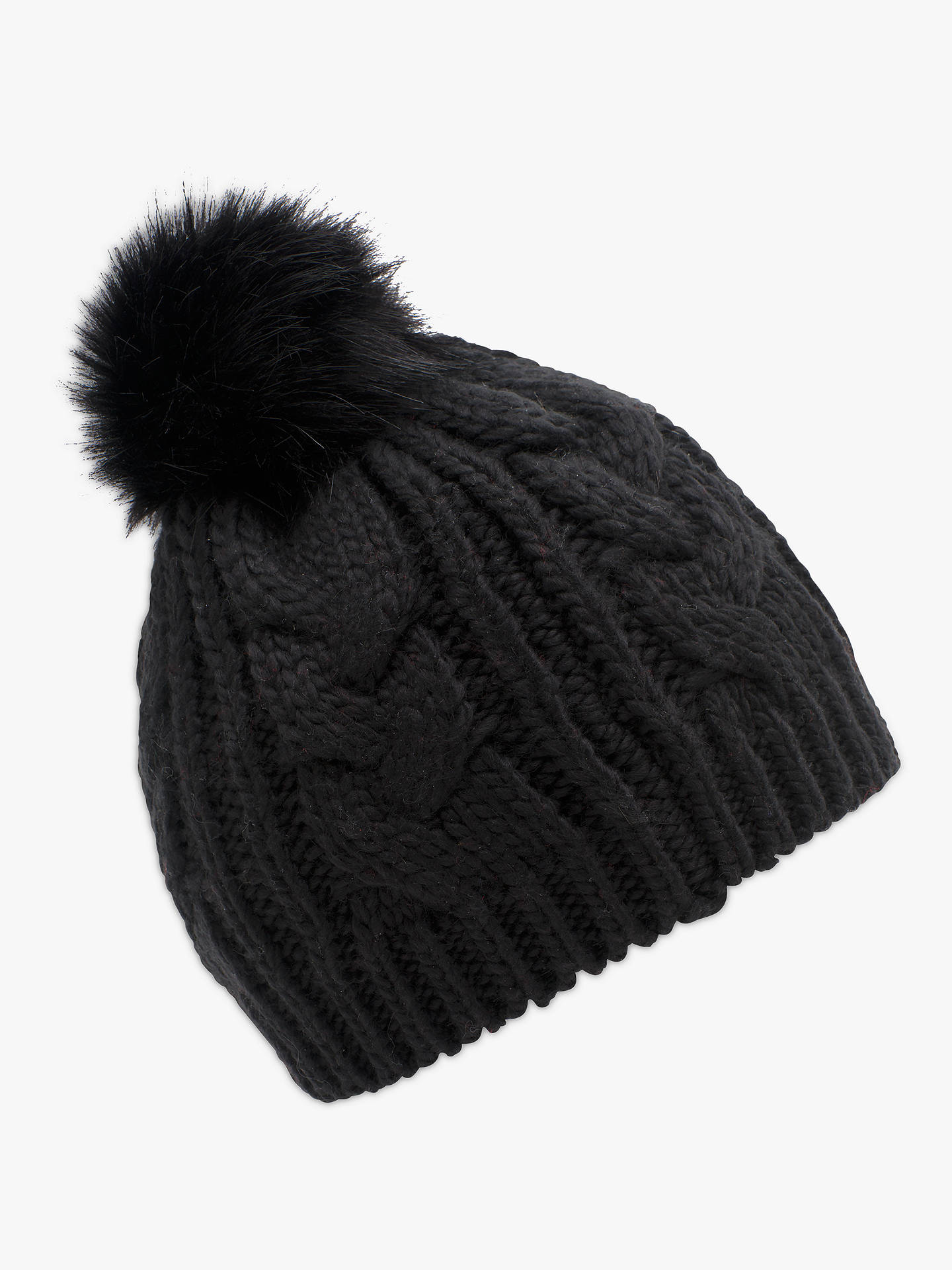 ... BuyFrench Connection Cable Knit Faux Fur Pom Pom Beanie Hat 620c69dd81a