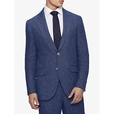 Hackett London Linen Regular Fit Suit Jacket, Blue