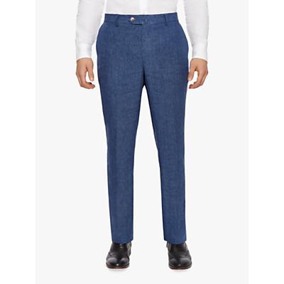 Hackett London Linen Regular Fit Suit Trousers, Blue