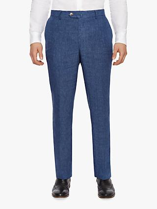 Hackett London Linen Regular Fit Suit Trousers, Blue