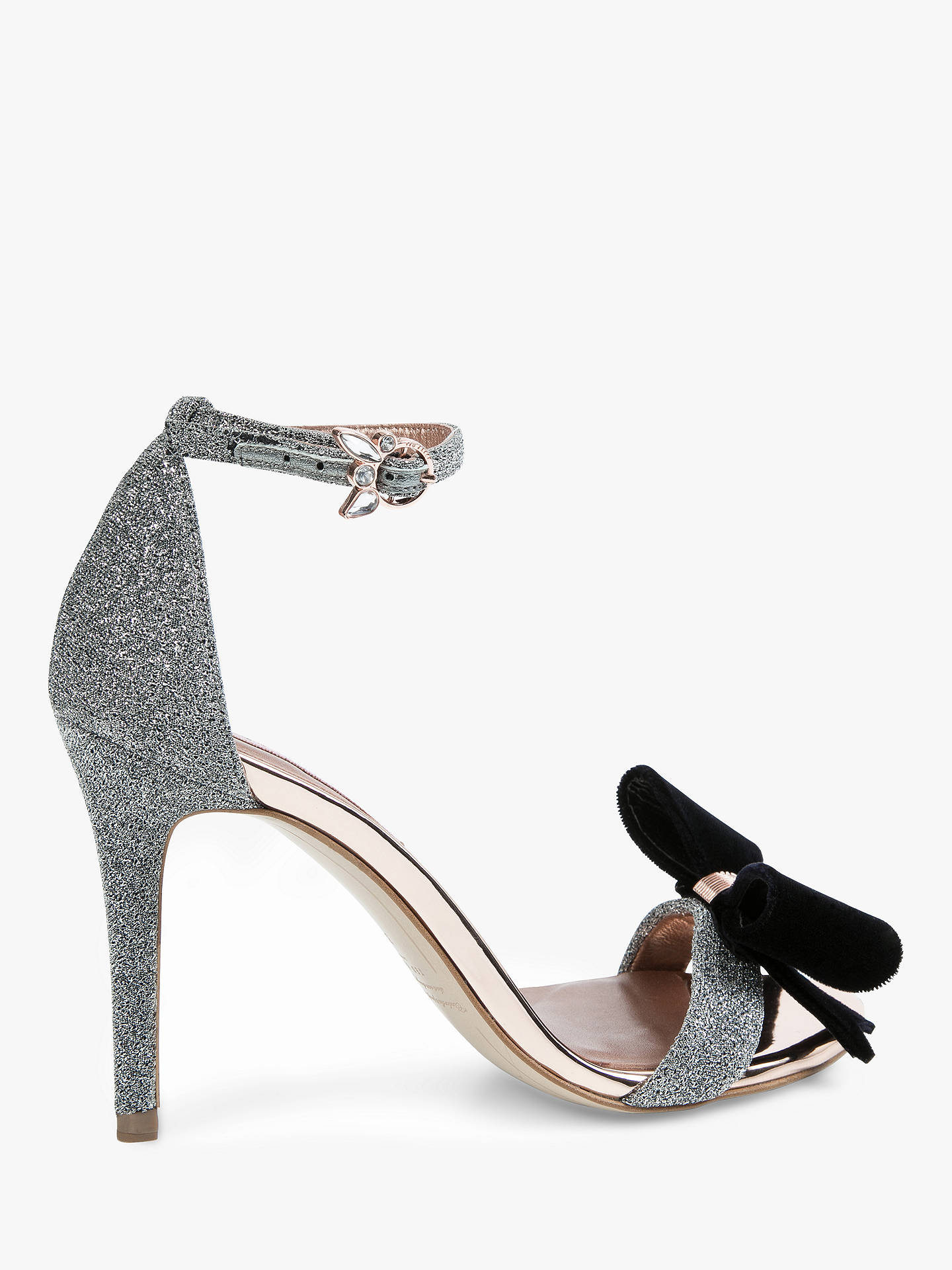 BuyTed Baker Bowdalo Stiletto Heel Sandals, Silver, 3 Online at johnlewis.com