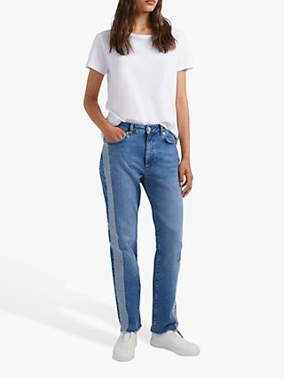 French Connection Jilly Embellished Side Strip Straight Jeans, Blue
