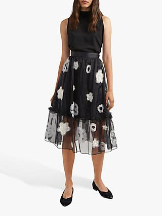 French Connection Josephine Tulle Floral Embroidered Midi Skirt, Black/Multi