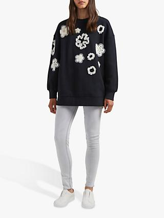 French Connection Josephine Floral Embroidered Sweater, Black/Classic Cream