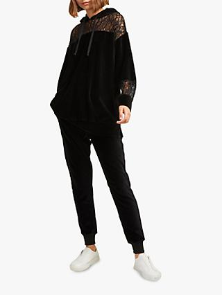 French Connection Ruthie Velour Jersey Hoodie, Black