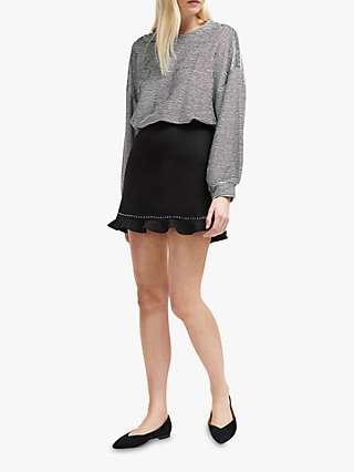 French Connection Pauline Frill Hem Mini Skirt, Black