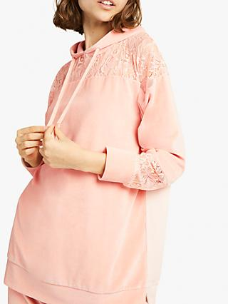 French Connection Ruthie Velour Jersey Hoodie, Ballet Blush