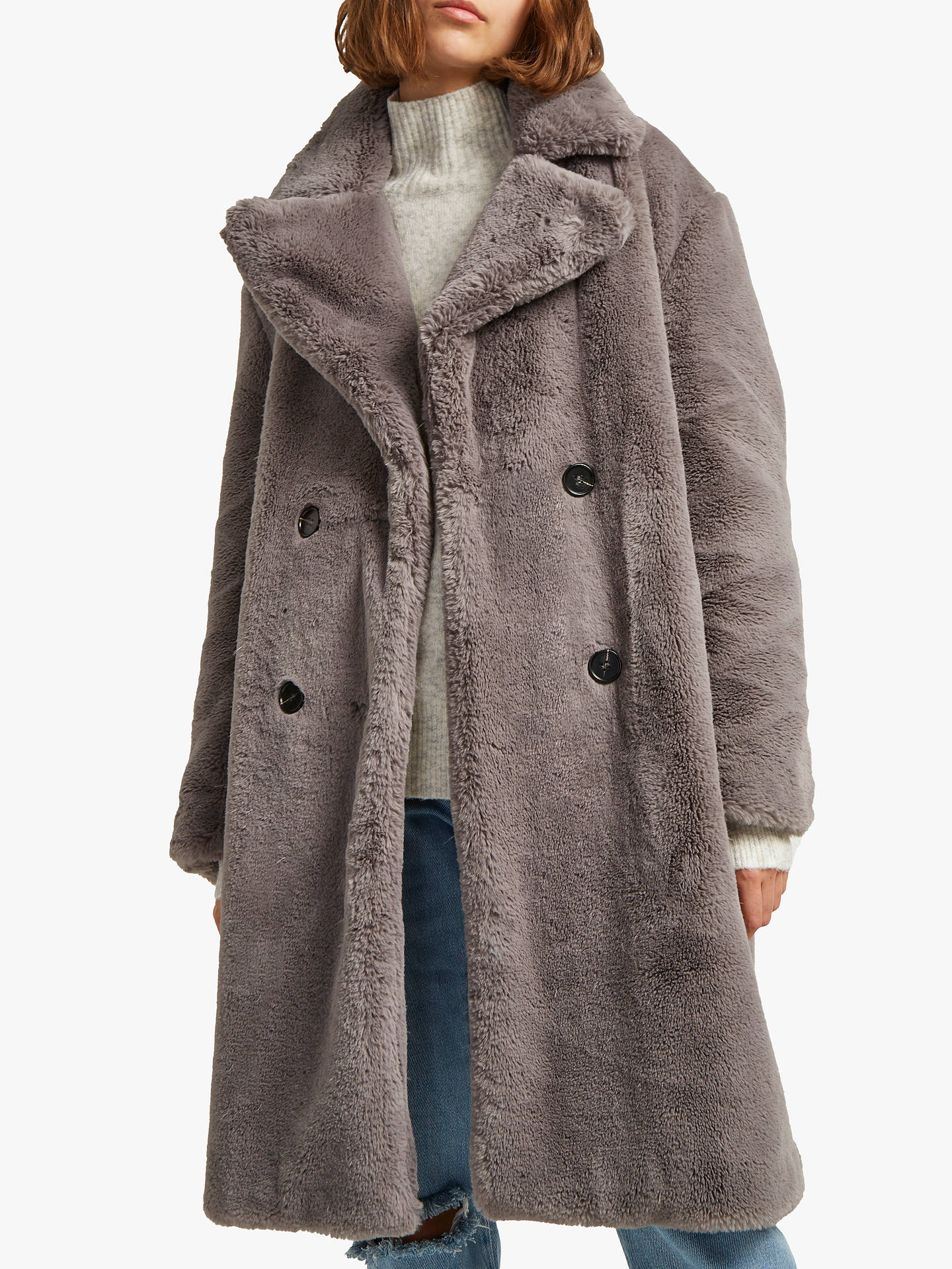 9b76d60fec Buy French Connection Annie Faux Fur Coat, Moody Grey, M Online at  johnlewis.