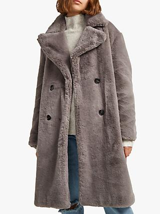 French Connection Annie Faux Fur Coat, Moody Grey