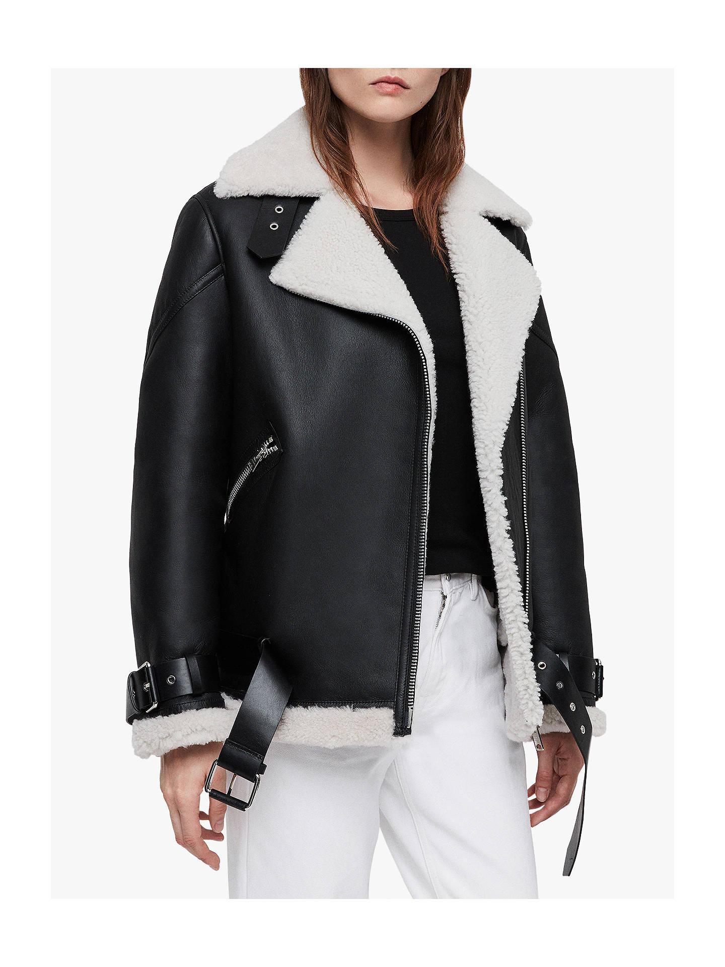 AllSaints Hawley Shearling Coat, Black at John Lewis & Partners
