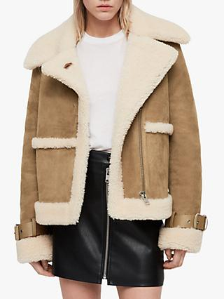 AllSaints Farley Shearling Coat, Sand Brown/Ecru