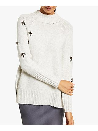 Mint Velvet Ecru Boxy Bee Knit Jumper, Neutral