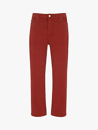 Mint Velvet Meribel Cut Off Jeans, Dark Red