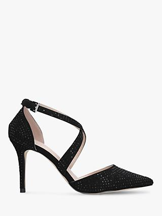 Carvela Cross Strap Stud Embellished Stiletto Heel Court Shoes, Black