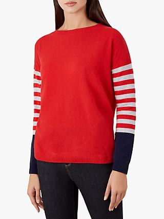 Hobbs Sofia Stripe Sweater, Red Multi