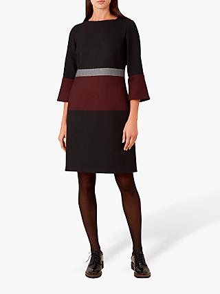Hobbs Simona Dress, Aubergine/Black