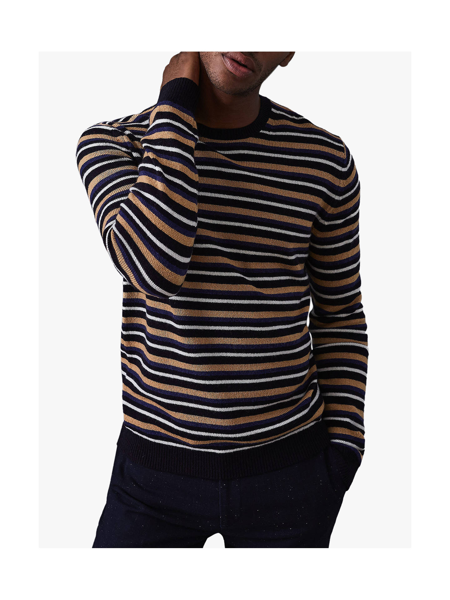 Interruzione Dettatura Rituale  Reiss Brindisi Striped Crew Neck Jumper, Navy at John Lewis & Partners
