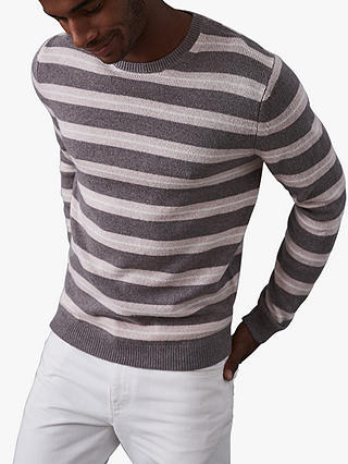 Buy Reiss Cowdry Striped Crew Neck Jumper, Taupe, S Online at johnlewis.com