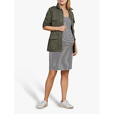 Isabella Oliver Gina Striped Maternity Dress, White/Navy