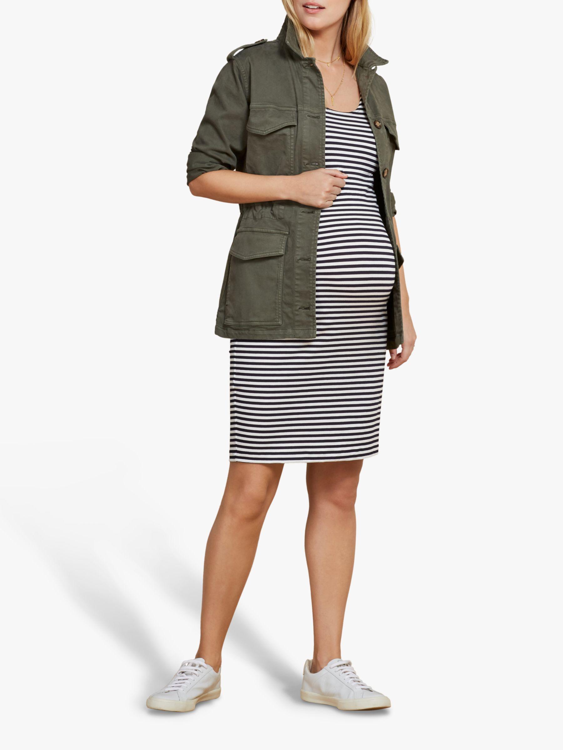 Isabella Oliver Isabella Oliver Gina Striped Maternity Dress, White/Navy