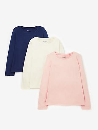 John Lewis & Partners Girls' Long Sleeve T-Shirts, Pack of 3, Navy/Multi