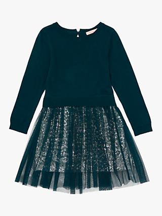 Jigsaw Girls' Sequinned Dress, Evergreen