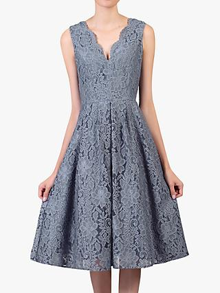 Jolie Moi Scalloped Lace V-Neck Dress