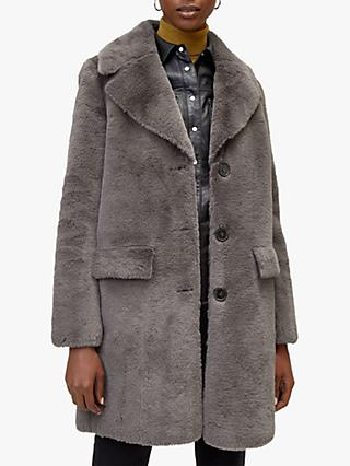Warehouse Longline Femme Faux Fur Coat, Dark Grey