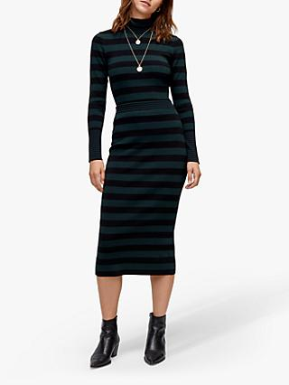 Warehouse Stripe Pencil Skirt, Green Stripe