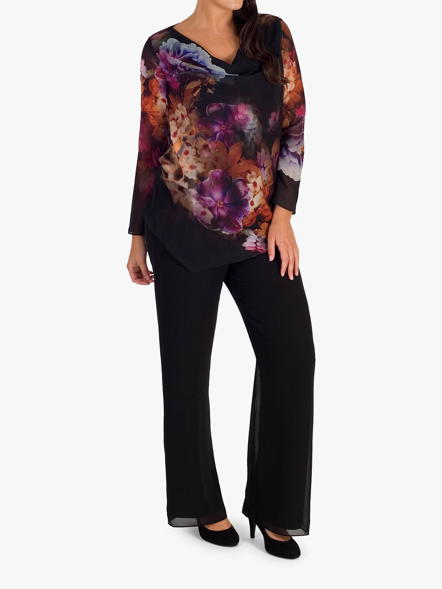 BuyChesca Floral Print Chiffon Top, Black/Multi, 20-22 Online at johnlewis.com
