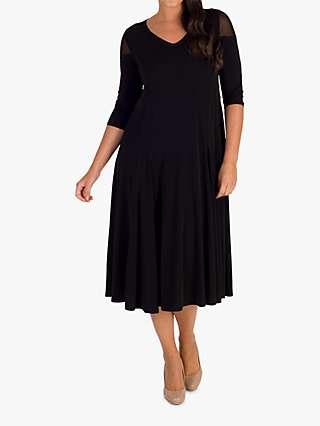 Chesca Mesh Shoulder Flared Jersey Dress, Black