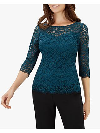 Jaeger Side Floral Lace Jersey Top, Green Lace