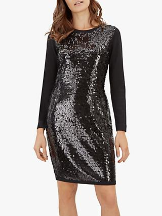 Jaeger Sequin Knitted Dress, Black