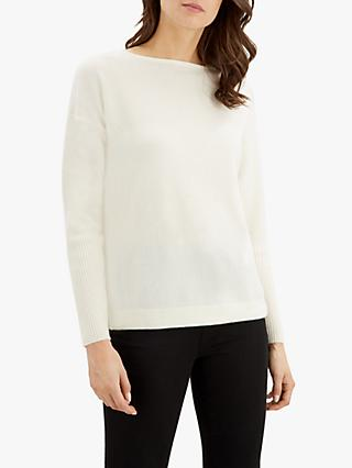 Jaeger Slash Neck Cashmere Knit Jumper, Ivory