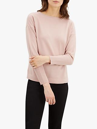 Jaeger Slash Neck Cashmere Knit Jumper, Pink