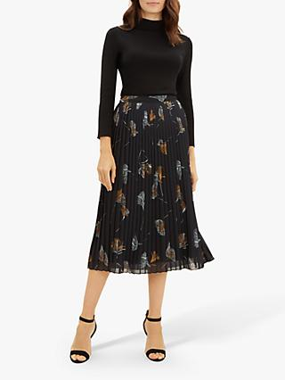 Jaeger Floral Pleated Midi Skirt, Black/Multi