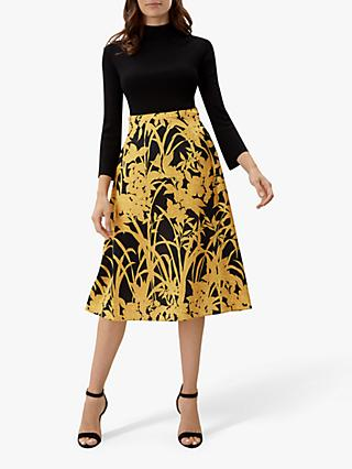 Jaeger Gold Leaf Print Skirt, Black