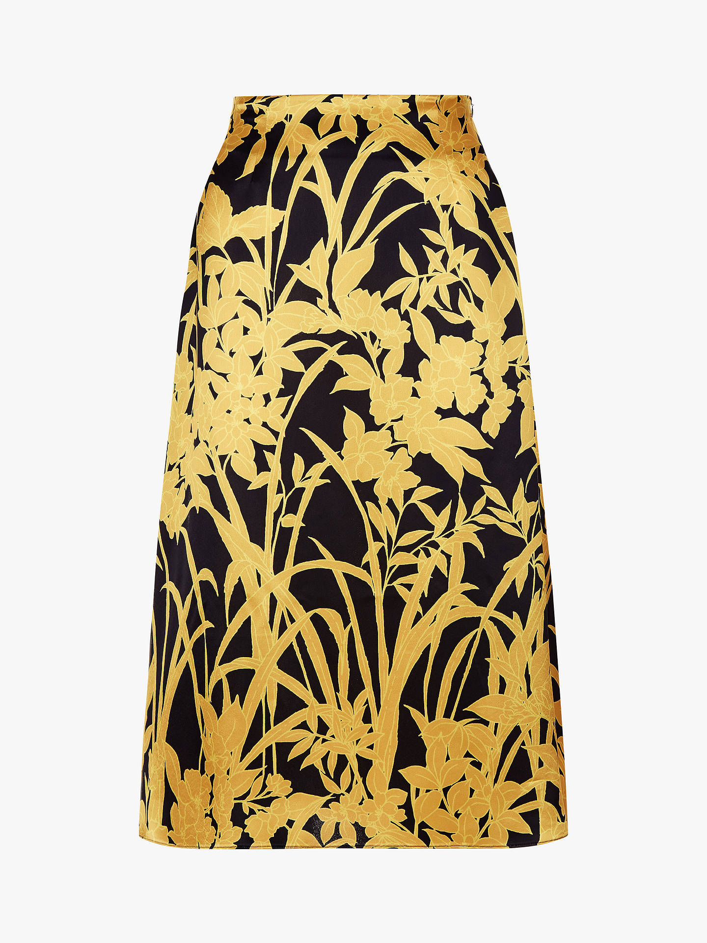 BuyJaeger Gold Leaf Print Skirt, Black, 6 Online at johnlewis.com
