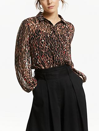 Somerset by Alice Temperley Leopard Print Button Chiffon Blouse, Multi