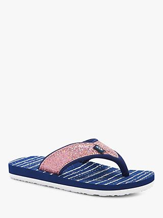 Animal Children's Glitzy Stripe Flip Flops, Navy/Pink